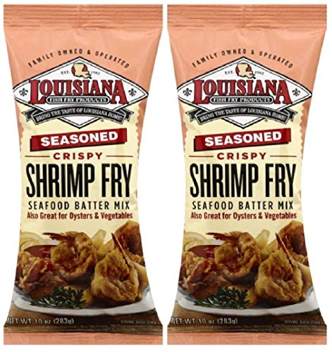 Louisiana Fish Fry Products - Seasoned Crispy Shrimp Fry Seafood Batter Mix (Also Great on Oysters and Vegetables), 10 Ounce Bag - Pack of Two