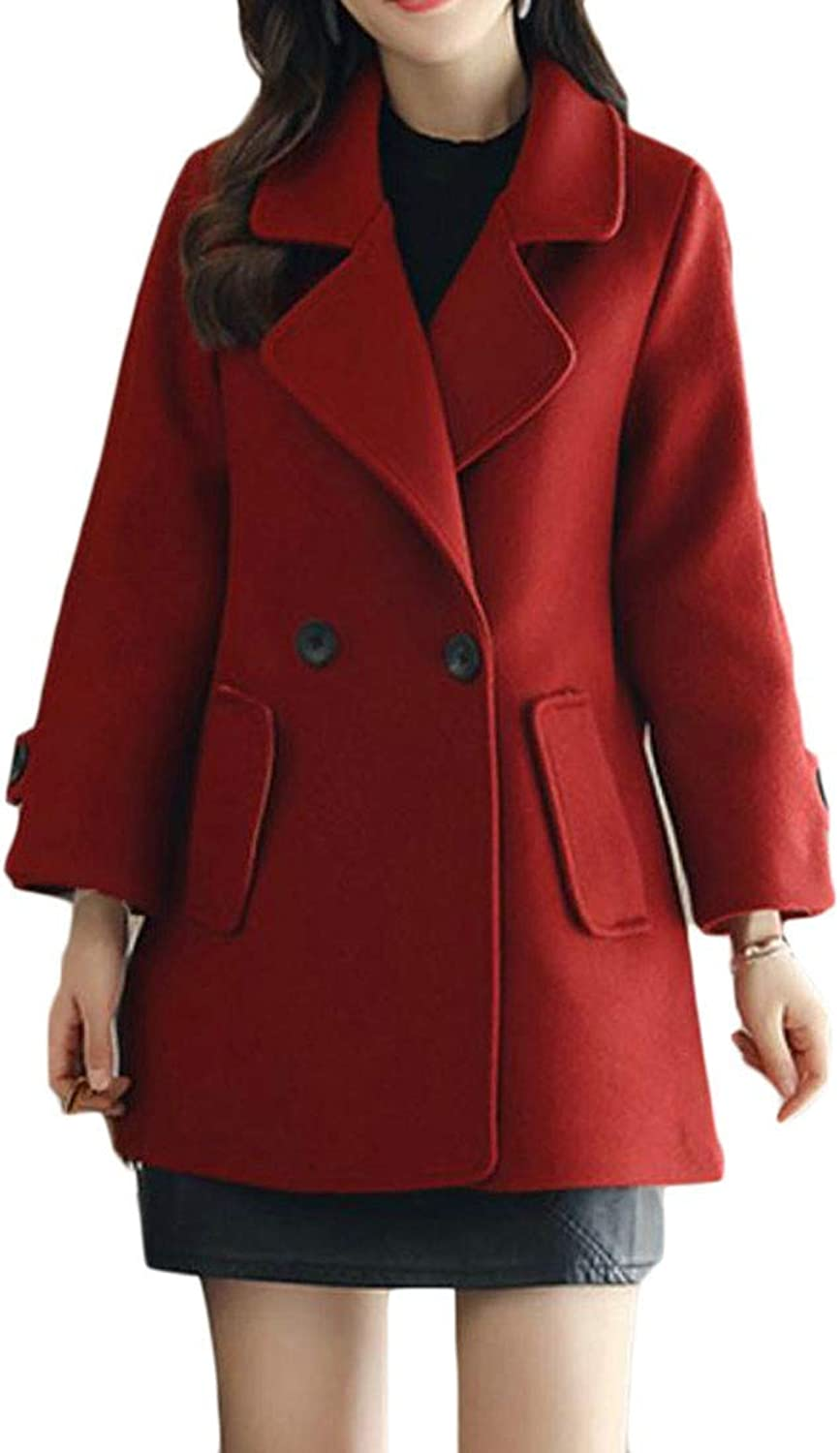 Joe Wenko Women Lapel Double Breasted Solid Woolen Casual Pea Coat Jacket