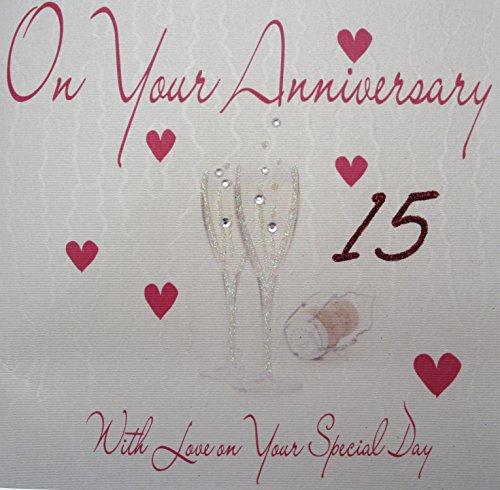 Witte katoenen kaarten WB 159-38.10 cm rode champagneglazen, On Your Anniversary
