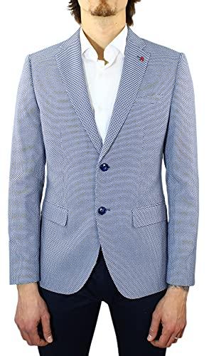 Giacca Uomo Elegante Sartoriale a Nido d'Ape Leggera Blazer Slim Fit (Blu, Numeric_56)