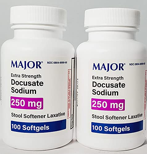 2 Pack Docusate Sodium 250mg Major Stool Softener Laxative Softgels.