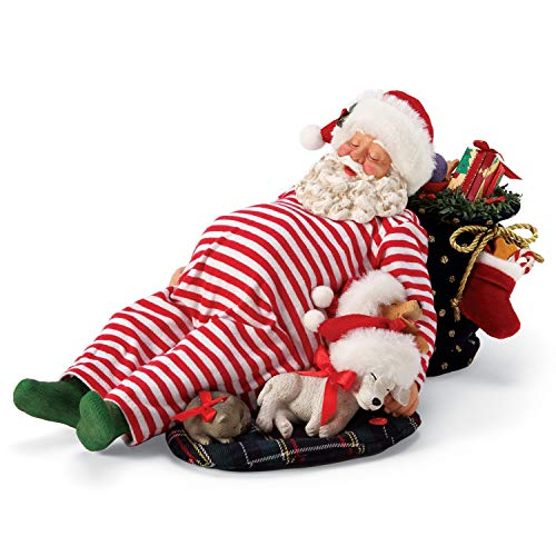 Department 56 6005272 Possible Dreams Santa and his Pets Cuddle Buddies Snoring Animated Figurine, 7 Inch, Multicolor