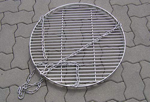 Auswahl Edelstahl Grillrost 55 60 70 80 90 100 cm mit Kette 6 mm Stäbe 15 mm Stab Abstand für Grill Feuerschale Schwenkgrill (Grillrost 60 cm mit Kette 6 mm)