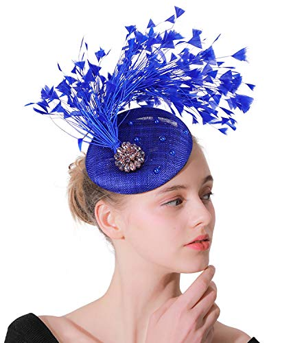 Z&X Sinamay Feather Fascinators per le donne Fascia Clip Cocktail Tea Party Pillbox Cappello Royal Ascot #A- Blu reale Taglia unica