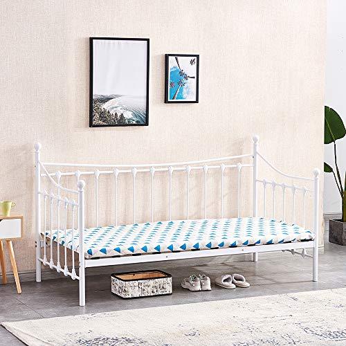 4HOMART Single Bed Headboard and Solid Wooden Slat Mattress Platform Base Guest Bed Frame Sofa Bed for Bedroom Guest Room