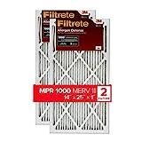 Filtrete 14x25x1, AC Furnace Air Filter, MPR 1000, Micro Allergen Defense, 2-Pack (exact dimensions 13.781 x 24.781 x 0.84)