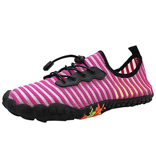 HDUFGJ Unisex Aquaschuhe Outdoor Badeschuhe Schnell Trocknend Barfussschuhe Faule Schuhe Turnschuhe Fitnessschuhe Flache Fliegendes Fitnessschuhe Outdoor-Schuhe Leinwand36 EU(Pink)