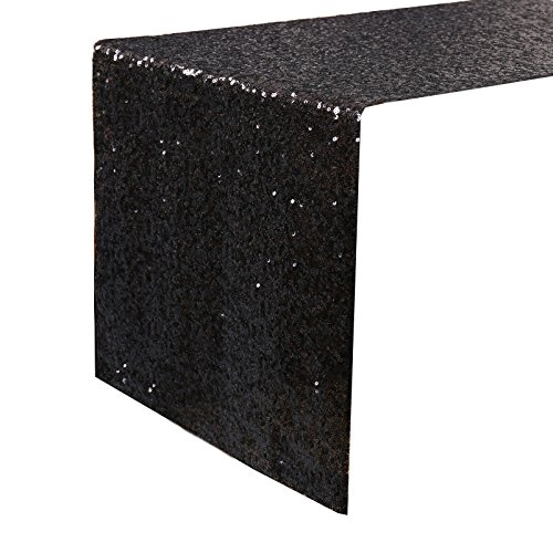 """Kevin Textile Decoration Sparkling Shimmer Sequins Table Runner/Table Cover for Party/Wedding/Banquet Decoration, 14""""x108"""", Lake Blue"""