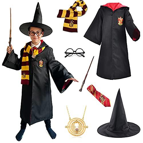 Cogio Disfraz de Mago Harry para niños, Incluye: Varita, Sombrero, Gafas, Corbata, Capa, medallón, Bufanda, 135 CM