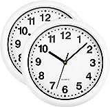 Set di 2 orologi da parete rotondi bianchi, dimensioni: 25,4 cm di diametro x 3,8 cm di spessore. Struttura in plastica leggera e robusta e lente in vetro con fessura per le unghie sul retro. Facile da appendere. Facile da pulire Silenzioso non ticch...