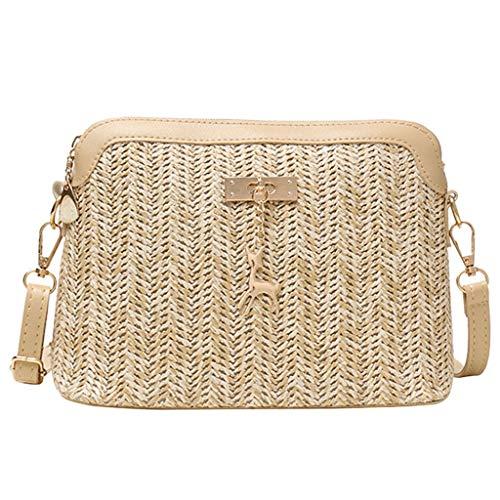 KUKICAT Umhängetasche Damen Farbe gewebt Quaste Handtasche Umhängetasche Strandtasche
