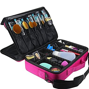 FLYMEI Portable Makeup Train Case, Professional Makeup Case 3 Layer Cosmetic Organizer 16  Makeup Artist Case with Shoulder Strap and Adjustable Divider, Pink