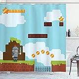 ABAKUHAUS Videospiele Duschvorhang, Arcade-Ritter der 90er Jahre, mit 12 Ringe Set Wasserdicht Stielvoll Modern Farbfest & Schimmel Resistent, 175x180 cm, Mehrfarbig