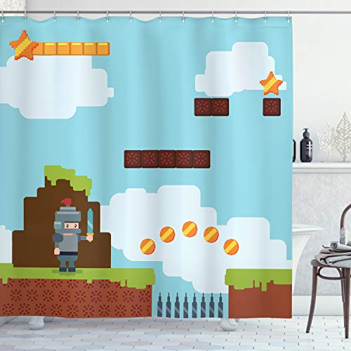 Cortina de Baño, Arcade Knight 90 de, Material Resistente al Agua Durable Estampa Digital, 175 x 200 cm, Multicolor