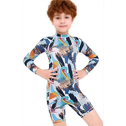 Traje de neopreno Moda Traje de buceo infantil traje de baño para niños siamese manga larga sol spa traje de secado rápido niños térmico (Color : B, Size : S)