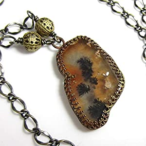Autumn Woods Dendritic Agate Brass Necklace
