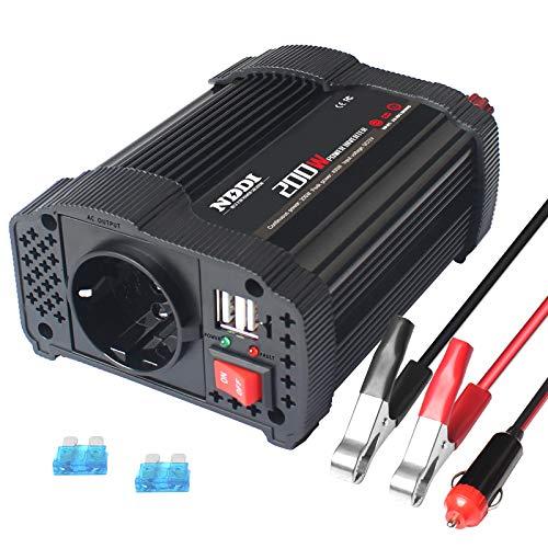 NDDI Inversor de corriente de 200 W para coche, CC de 12 V a 230 V CA, con cargador de coche USB dual y 1 inversor de potencia de salida CA para coche