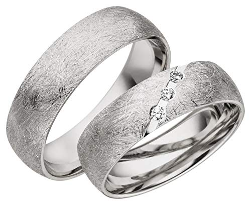 JC Trauringe 925er Sterling Silber Paarpreis I Ehe-Ringe mit kostenfreier Gravur I Verlobungsringe 6 mm breit inkl. Etui-Box I Herren-Ring ohne & Damen-Ring mit Zirkonia-Stein I Gr. 48 bis 72 I A22