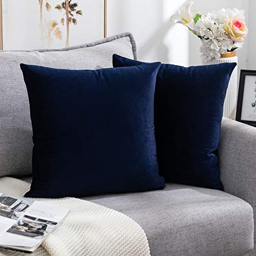 Nanhiking Velvet Cushion Cover 45x45CM Square Decorative Throw Pillow Case for Sofa Bedroom Coach Bed, 2 Pack Navy, 18x18Inch