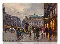 Edouard Cortes 伸びた ジクレー キャンバスに印刷-有名な絵画 美術品 ポスター -再生 壁の装飾 ハングする準備ができて(オプレア広場) #NK