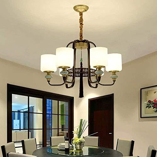 Candelabro de hierro forjado clásico simple Pantalla de vidrio esmerilado Hogar Sala de estar Dormitorio Restaurante Luz de techo Lámparas de decoración del vestíbulo del hotel (68 * 68 * 43 CM)