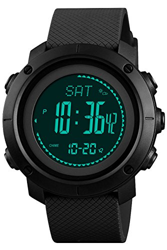 Digital Watch Military Tactical Sports Compass Pedometer Alarm Altimeter Barometer Thermometer Outdoor Army Wrist Watches Black