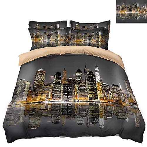 B/A 3 Piece Duvet Cover Set Dubai city night view Duvet Cover Plus 2 Pillow Covers Soft Hotel Quality Wrinkle and Fade Resistant 100% Microfiber 55.11 x 78.74 inch For adult youth bedroom