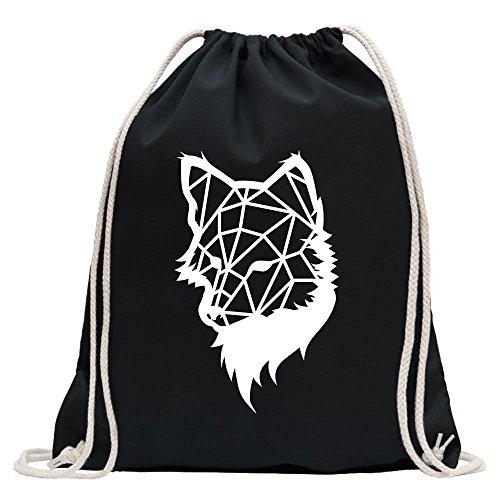 Kiwistar - Polygon Fuchs Figur Tier Art Turnbeutel Fun Rucksack Sport Beutel Gymsack Baumwolle mit Ziehgurt