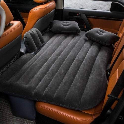 SKYTONE Inflatable Travel Car Bed Air Sofa with Two Inflatable Pillow and Air Pump for Car Back Seat Inflatable Air Mattress Soft Sleeping Pad Bed for Camping Travel(Black)