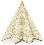 GRUBly Servilletas Oro de Papel gofrado Fino Ornamental | Servilletas Papel de Fiesta como servilletas de Tela | Ideal Cenas Bodas Cumpleaños Barbacoas | Calidad AIRLAID | 40 x 40 cm | Pack de 50