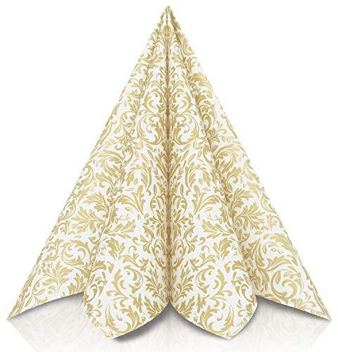 GRUBly Servilletas Oro de Papel gofrado Fino Ornamental | Servilletas Papel de Fiesta como servilletas de Tela | Ideal Cenas Bodas Cumpleaños Barbacoas | Calidad AIRLAID | 40 x 40 cm | Pack de