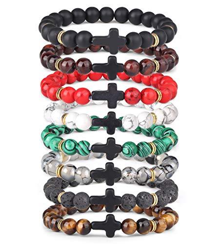YADOCA 8 Stück 8MM Stein Armband für Männer Frauen Paare Tigerauge Stein Lavastein Armband für ätherisches Öl Heilung Armband Elastic Yoga Kreuz Armband