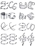 8 Pairs Stainless Steel Ear Cuff Non Piercing Clip on Cartilage Earrings for Men Women, 8 Various Styles (Steel C + Flower Shape Style)