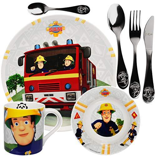 alles-meine.de GmbH 7 TLG. Geschirrset - Feuerwehrmann Sam - Geschirr aus Porzellan / Keramik + Edelstahl Besteck - Messer Gabel Löffel - Trinkbecher + Teller + Müslischale / Sup..