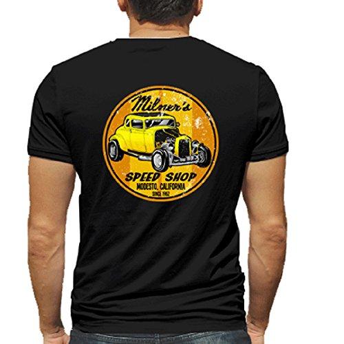 Milner's Speed Shop Hot Rod Rat Nostalgia Drag Race Racing NHRA Black Short Sleeve Shirt (XX-Large)