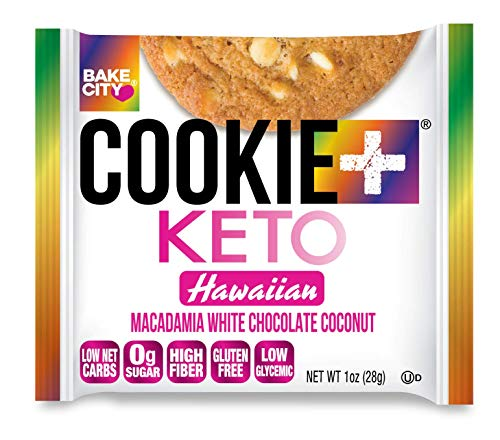 Bake City Cookie Plus Keto | 1oz Hawaiian Cookies (12 pack), Gluten Free, 0g Sugar, Only 1.5g Net Carbs, Good Fats, 5g Protein, Kosher, No Artificial Flavors