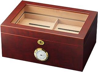 Humidors cigarr 100 cigarrlådor synlig cigarr bärbar cigarr alkoholiseringslåda (färg: Röd, storlek: 35 x 24 x 16 cm)