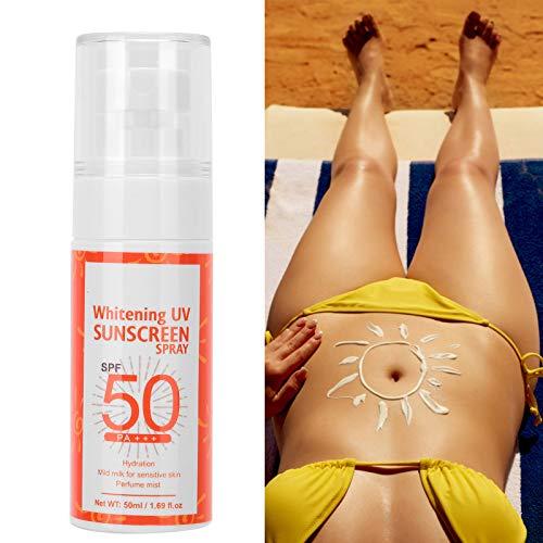 Crema solar en spray, SPF50 + 50ml Protección de la piel Granada Blanqueamiento Cara Cuerpo Bloqueador solar Spray protector solar antienvejecimiento, Beach Defense Agua Protección solar