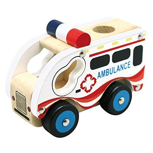 Bino Holzauto Ambulanz Holzspielzeug Krankenwagen Spielzeug für Kinder ab 12 Monate (Kinderspielzeug mit Hart-PVC-Reifen, fördert Hand-/Augen-Koordination, Maße: 17 x 12 x 9 cm), Mehrfarbig