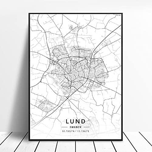 Lund Halmstad Stockholm Tumba Östersund Örebro Jonkoplng Sweden Canvas Art Map Poster ?ZQ-1704? Ingen ram poster 40x50cm