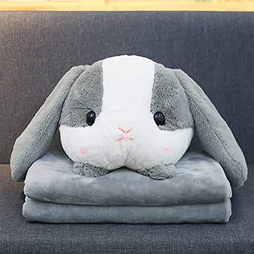 Kaninchen-PlüSchpuppe Mit HäNgeohren, HandwäRmer-Kissendecke 3-In-1, Mit Einer Decke Von 1,7 M × 1 M, Superweicher Kurzer PlüSch + PP-Baumwollpolsterung, Geeignet FüR EIN Nickerchen