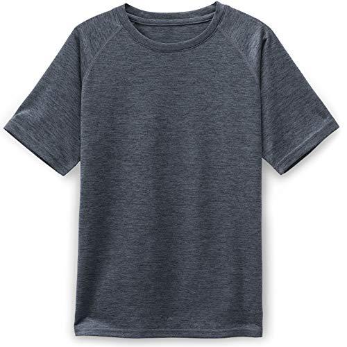 TSLA Kids Youth Running Shirts, Cool Dry Fit Gym Sports Workout Shirts, Athletic Short Sleeve T-Shirts, Hyper Dri Crewneck(kts01) - Carbon Grey, Large
