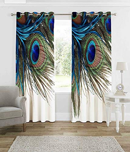 Curtains for Living Room Wooden Bridge Curtains Rustic Country Theme Home Decorations for Bedroom Kids Room Digital Printed Peacock Feathers Knitting Eyelet Long Door Curtains 1 Only( 4 Fit x 7 Fit)