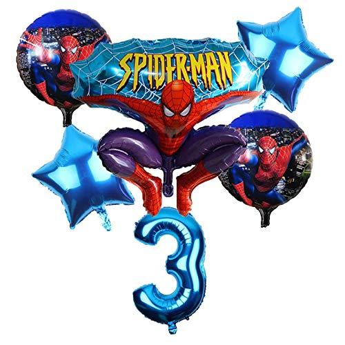 CHENZHAOL Ballon-Baby 6 Teile/Satz Spider Man Homecoming Happy Birthday Party Ballons 32 Zoll Anzahl Ballon Aufblasbare Helium Ballon Dekorationen Kinder (Color : Deep Blue)