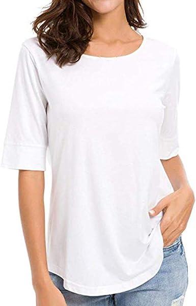 Camisetas básicas para Mujer, Casual, de Media Manga, Color ...