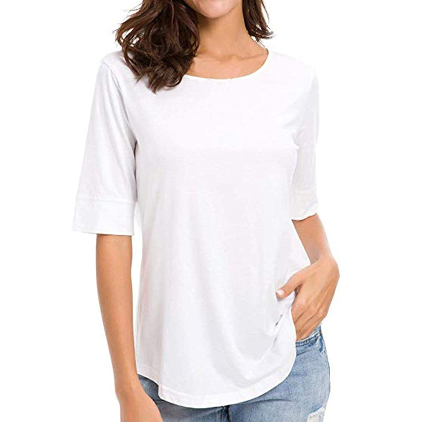 Mebamook T Shirt Womens, Women's Casual Solid Half Sleeve Blouse Basic Tunics Splice Tops