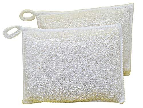 Bamboo Fibre Dish Sponges   2 Pack   Anti Bacterial Washing Up Sponges   Eco Sponge   Washable Kitchen Sponges   Long-Lasting Sponges   Plastic Free Packaging (White)
