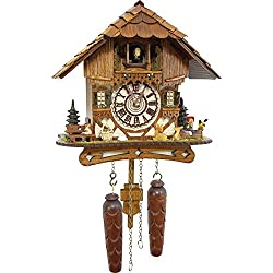 Cuckoo-Palace German Cuckoo Clock - Blackforest Hillside Chalet with Wonderful Animals with Quartz Movement - 10 1/4 inches Height