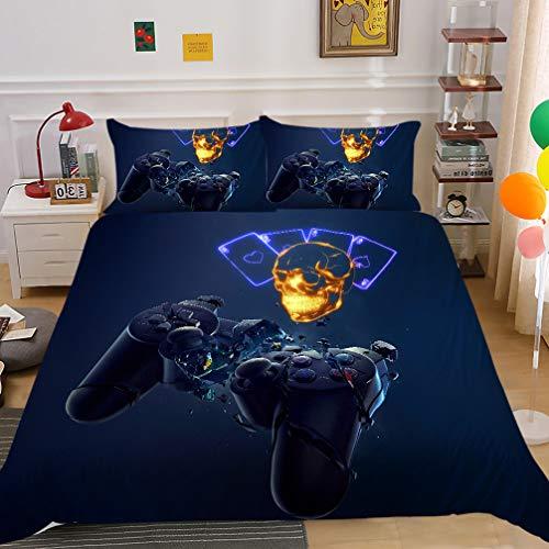 Ropa de Cama para Niñas Niños Colcha de 3 Piezas Patrón de Gamepad Colorido Consola de Videojuegos Juego de Funda Nórdica Azul Negro Naranja Morado (Figura 1, 240x220cm Cama 135 cm)