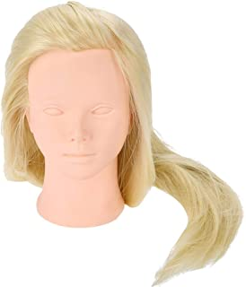 Mannequin Head with Hair for Hairdressing Styling Weaving and Makeup Practice with Bracket Long Heat Resistant Fiber and Soft Silicon Cosmetology Model Doll Head(Bracket not included)